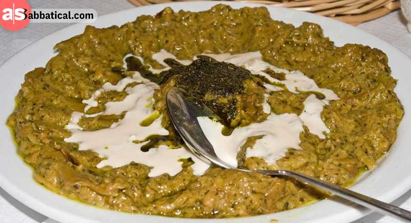 Kashke Bademjan is an eggplant with yogurt served as an appetizer.