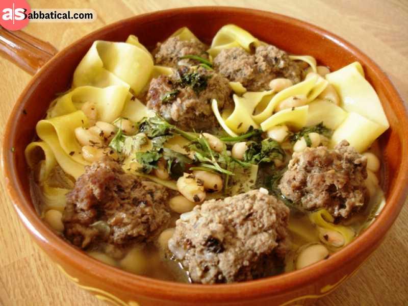 Khamrashi is a soup with homemade noodles.