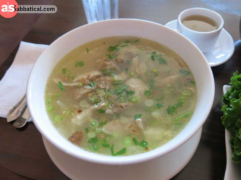 Khao Piak Sen is a noodle soup popular on the Lao streets. It's very similar to the Vietnamese Pho.