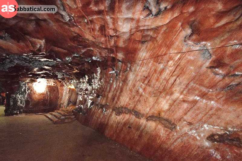 Khewra Salt Mine interior has many peculiar wall shapes.