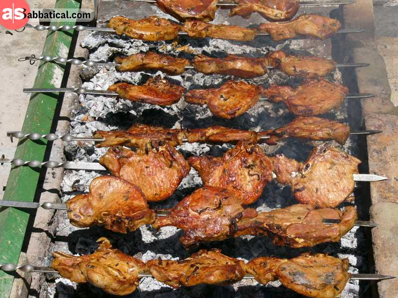 Khorovats is an Armenian meat kebab.