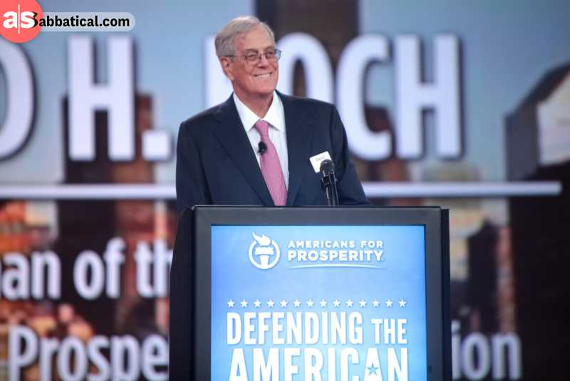 One of the Koch brothers, David Koch, is an example of how the rich get richer by unethical means.