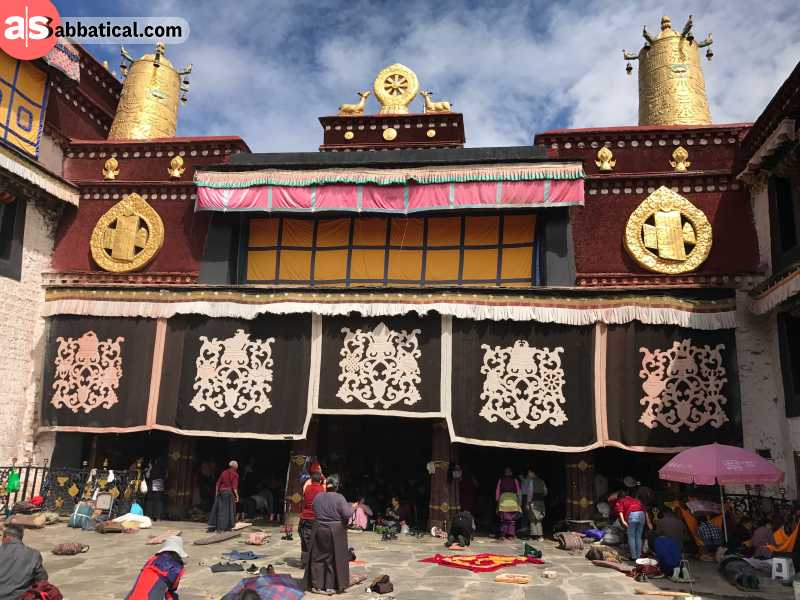 Barkhor Street actually surrounds the most sacred place in Tibet, the Jokhang Temple, and because of that, it's a significant kora in Tibet (or a pilgrimage path).