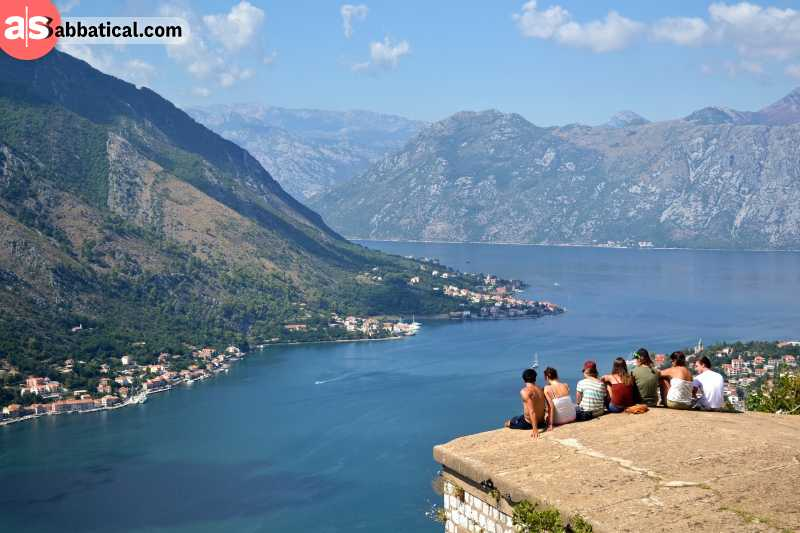Montenegrin people enjoying the view over Kotor.