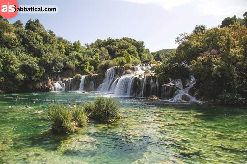 Swimming in a crystal clear water of Krka national park