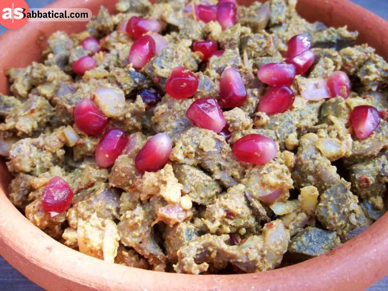 Kuchmachi is chicken liver in walnut sauce.