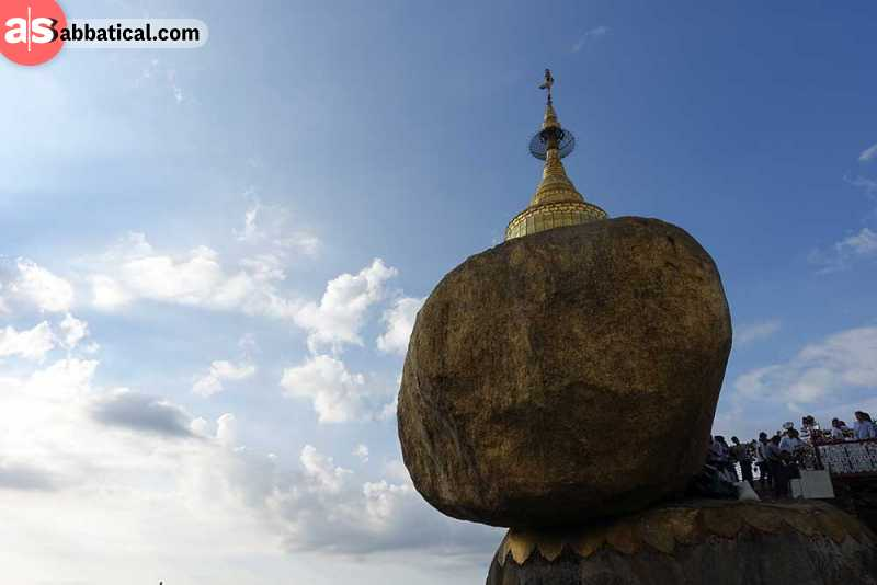 Kyaiktiyo Pagoda is a peculiar site, as it is a golden rock that is balanced on the edge of the cliff.