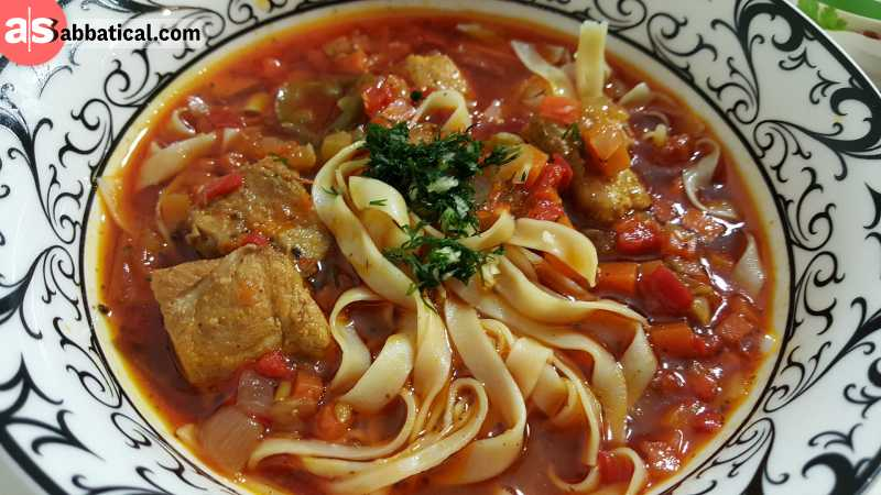 Langman is a noodle soup filled with various kind of meat.
