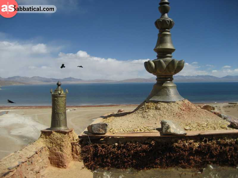 Manasarovar Lake is a beautiful sacred lake that is surrounded by Mount Kailash.