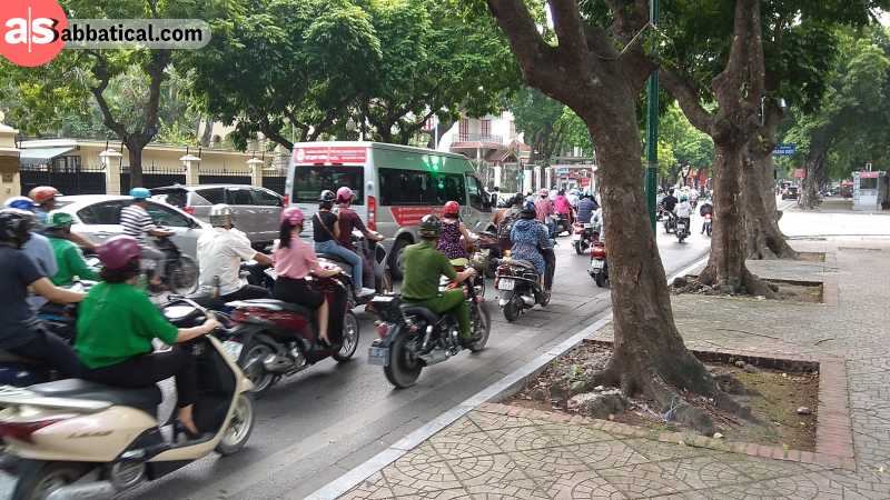Motorbikes are the most common mean of transport in Hanoi.