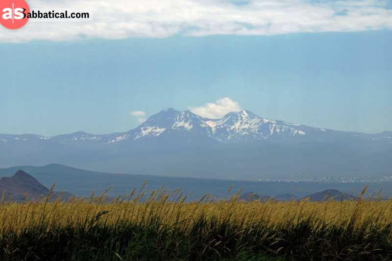 The majestic Mount Aragats in the distance.