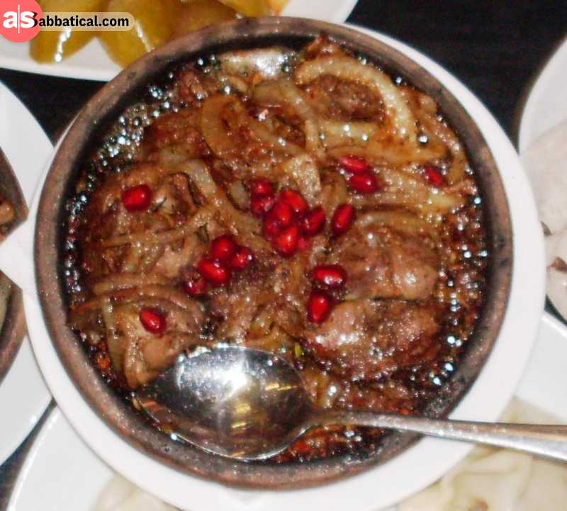Mtsvadi is roasted meat, previously marinated in pomegranate juice.