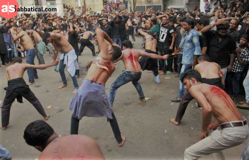 Mourning of Muharram in India is associated with intensive fasting and self flagellation with chains.