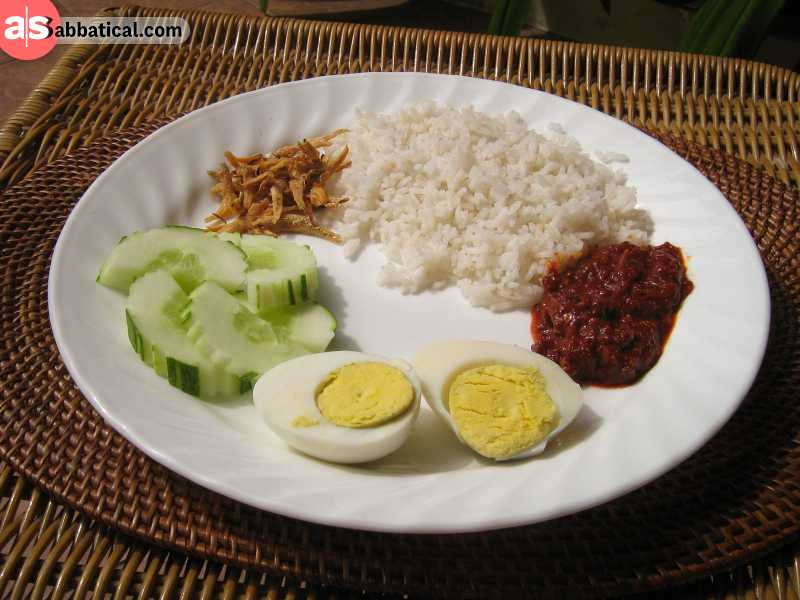 Nasi Lemak is a Malaysian staple dish that's made its way to Brunei.