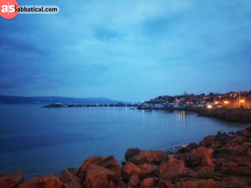 Nesebar beach by night
