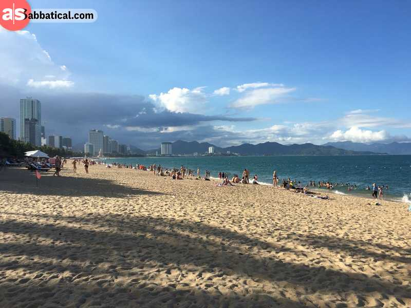 Nha Trang Bay has an extensive beach that is full of resorts and tourists.