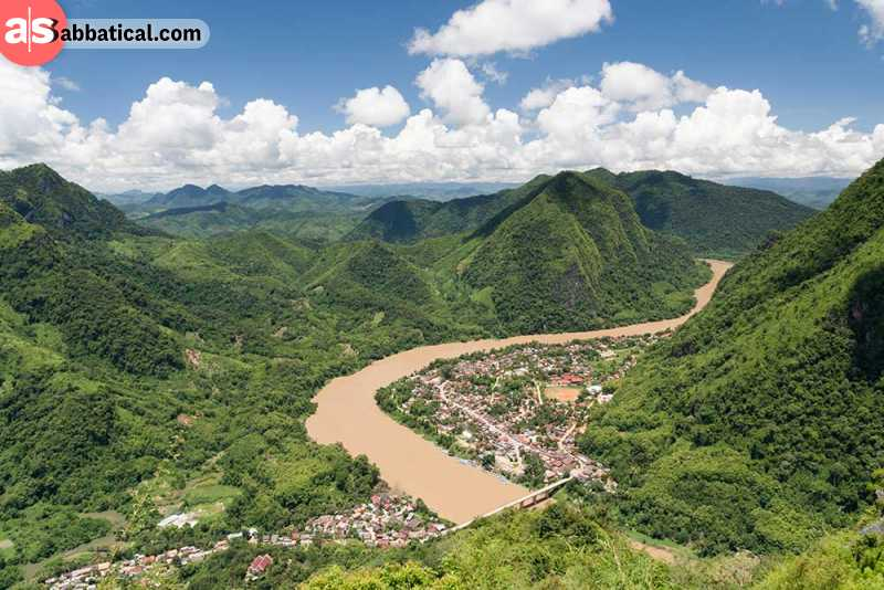 The beautiful viewpoint over Nong Khiaw.