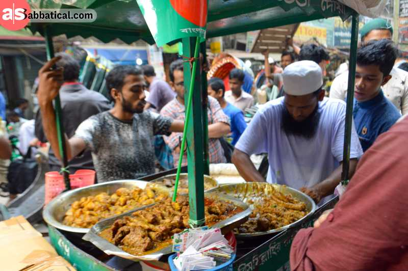 Street food stalls in Old Dhaka.