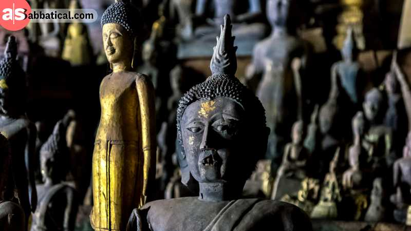 Pak Ou Caves are home to over thousands of Buddha statues.