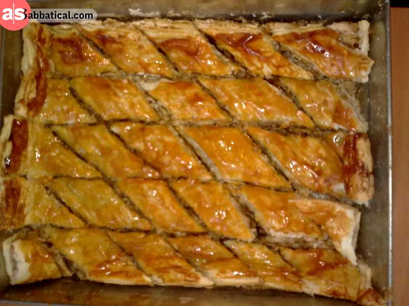 Pakhlava is a special dessert for Novruz, with many recipes and secrets. They all have a thin dough, a lot of nuts, and a sugar syrup. Pakhlava can also have honey and spices.