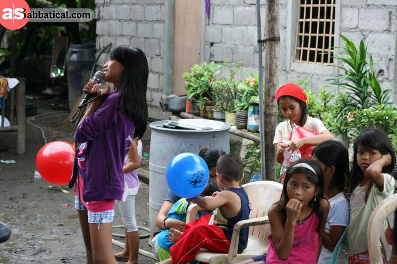 Karaoke is a big hit in the Philippines, as Filipinos love to sing.