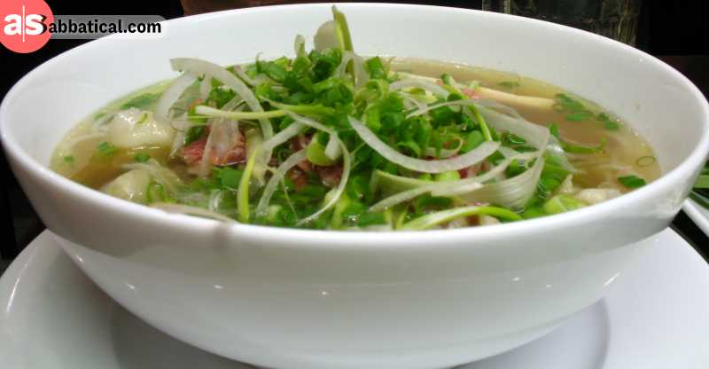 Fresh, light, and full of nutrients, Pho Noodle Soup is one of the best food you can try in Hanoi.