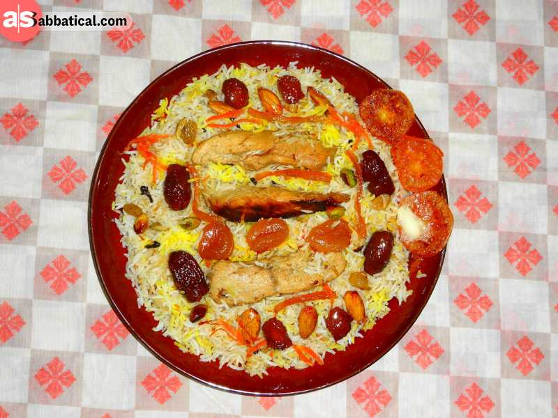 Plov is a popular rice dish served with meat.
