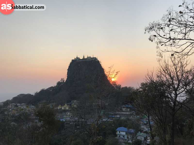 The Popa Mountain volcano with the Taung Kalat Temple on the top.