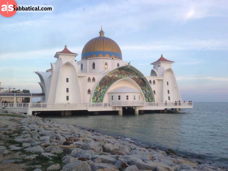 This magnificent mosque is located on the manmade island of Pulau Melaka.