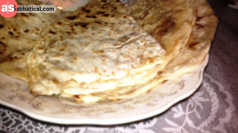 Qutab is a a flat bread or a pancake filled with meat, cheese, or vegetables.