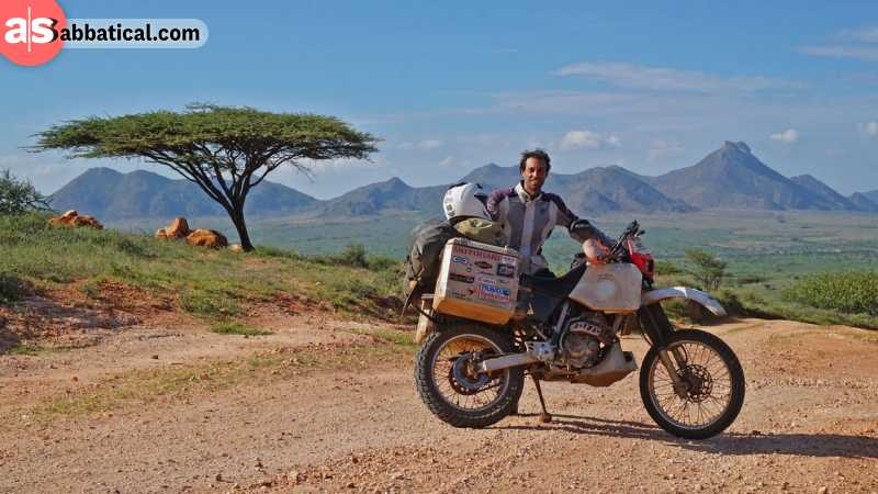 Elias has passed numerous miles and countries on his trusty Honda XR 250.