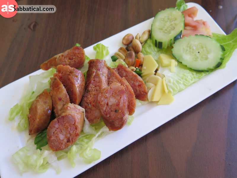 Sai Oua is a smoky sausage meal that is a common food on the streets of Luang Prabang.