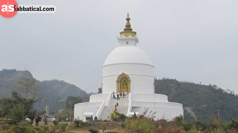 Shanti Stupa in Pokhara is just one of the many shrines in Lumbini.