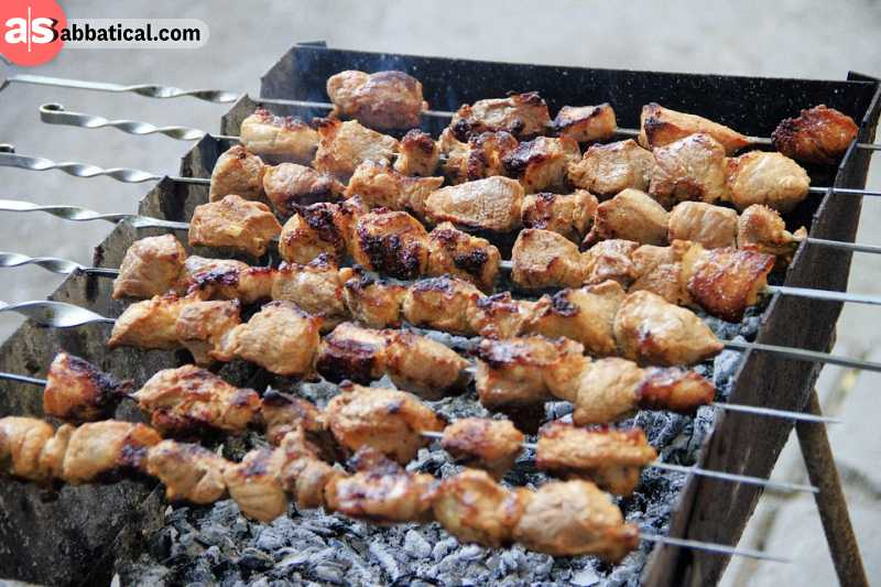 Shish kebab is made on a skewer.