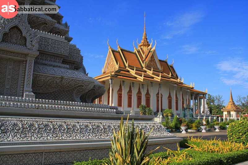 The Silver Pagoda is located in the Phnom Penh Royal Palace complex and holds many magnificent national treasures.