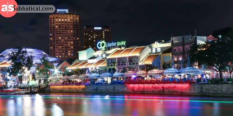 Clarke Quay is the place in Singapore where the nightlife thrives.