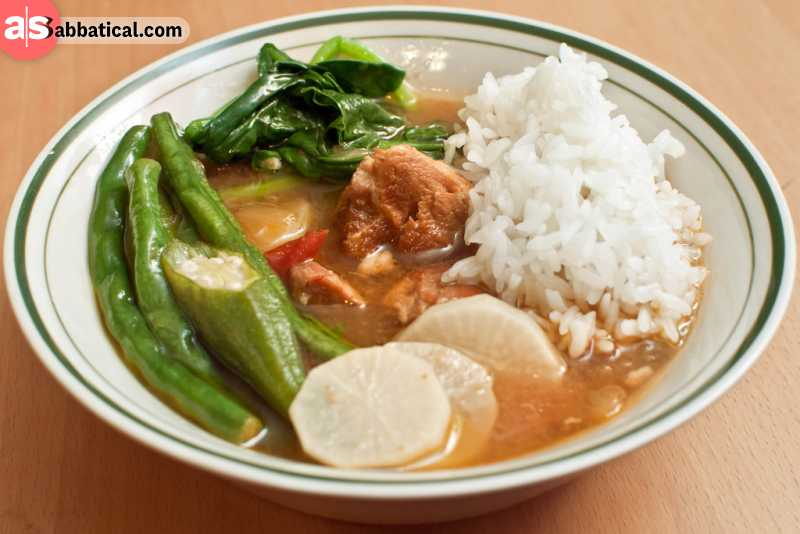 Sinigang is a sour soup made of tamarind with meat and vegetables.