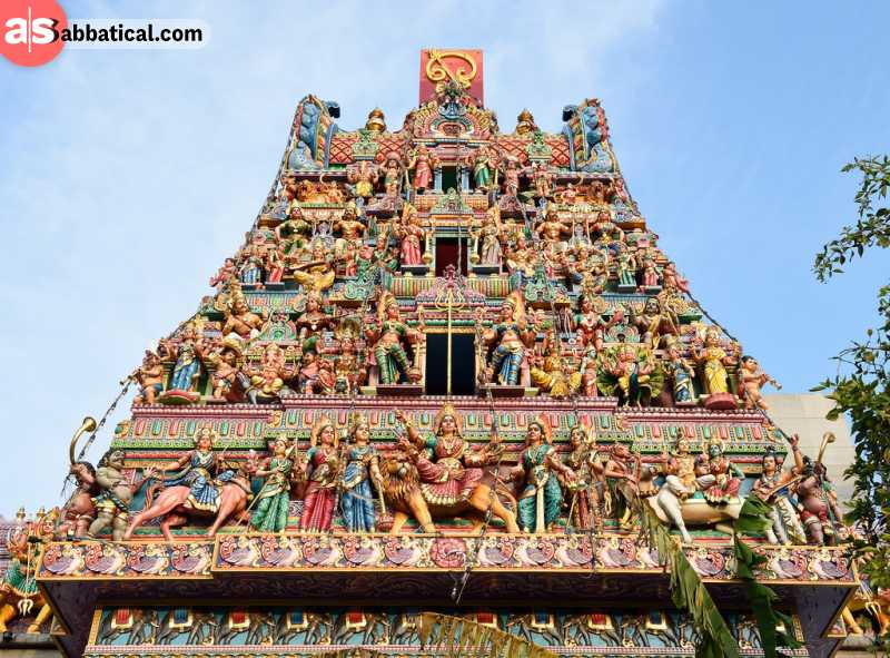 The beautifully decorated roof of the Sri Veeramakaliamman Temple.