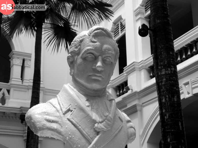 The statue of Stamford Raffles, the man who established Singapore as a British colony and contributed to the success of its administration.