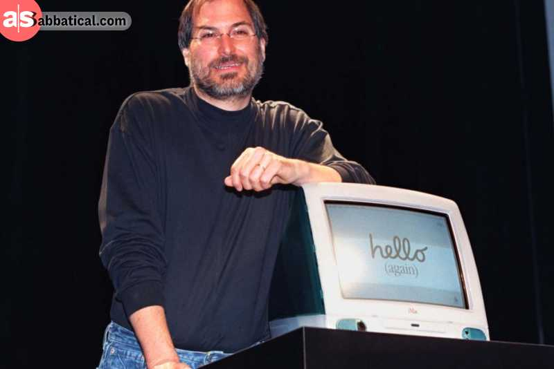 Steve Jobs unveiling the iMac in 1998, the desktop computer that would become the fastest selling computer in Apple's history. Image courtesy of ABC.