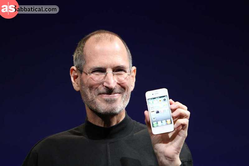 The iconic photo of Steve Jobs unveiling the iPhone in 2010, which would set the stage for the new, smartphone market.