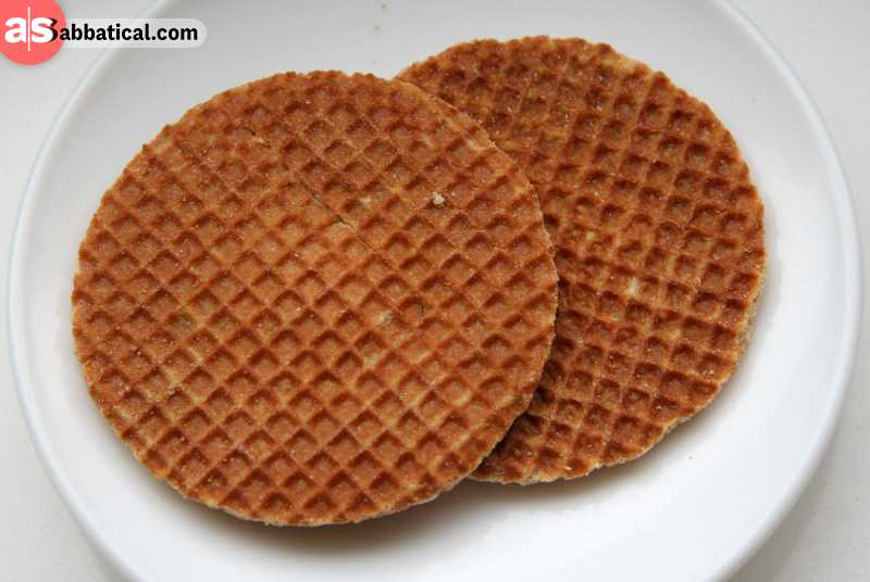 Stroopwafel is filled with caramel, and is an iconic part of the Dutch cuisine.