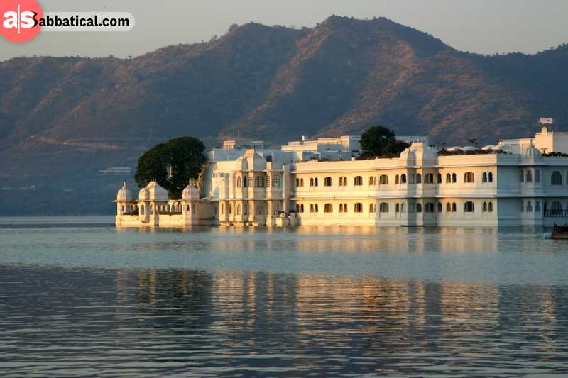 Taj Lake Palace stands out in the middle of Lake Pichola.