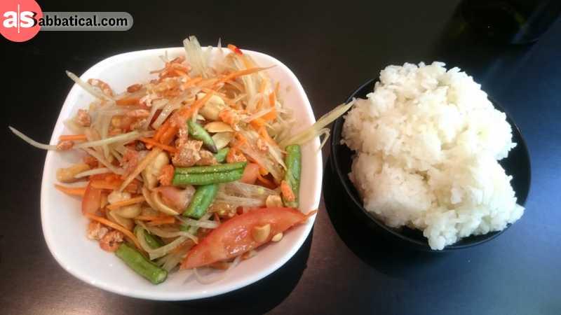 Tam Mak Hoong is the Laotian version of the Thai papaya salad.