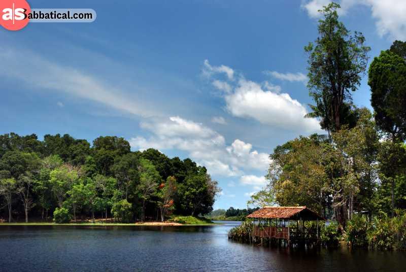 The S-shaped Tasek Merimbun is the largest lake in Brunei.