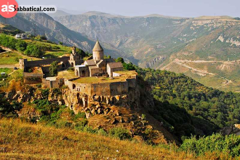 Tatev Monastery overlooking the Vorotan Gorge, the deepest gorge in Armenia.