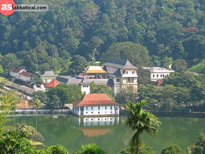The sacred Temple of the Tooth is located in Kandy.