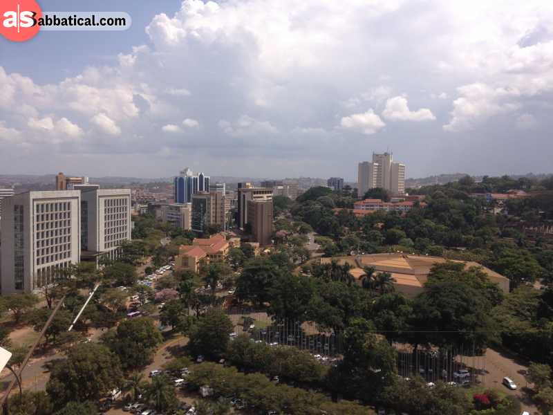 The view of the capital of Uganda, Kampala, from the rooftop.