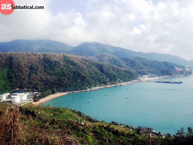Many beaches are hidden behind the forested hills on the beutiful Vung Ro Bay.