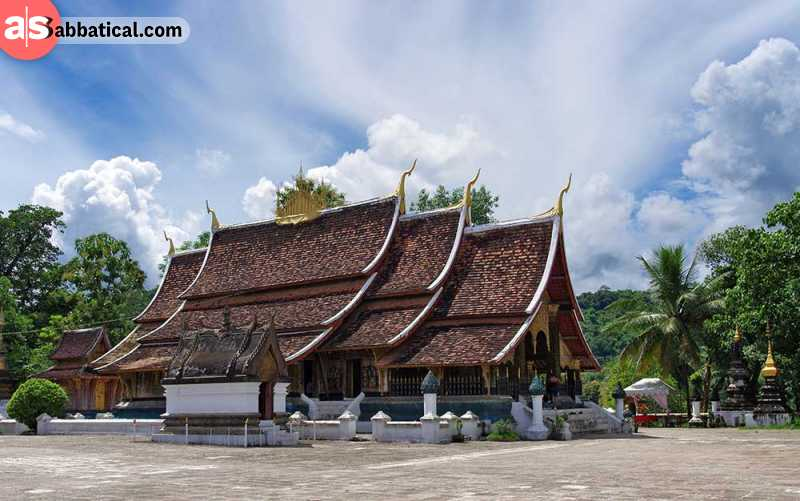 Wat Xieng Thong or Golden City Monastery features magnificent ancient architecture.